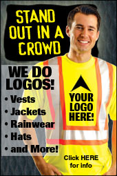 Stand out in a crowd! We do logos! Imprint your logo on vests, jackets, rainwear, hats and more!