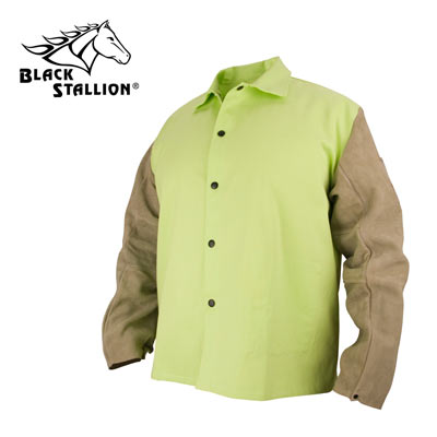 """c9bc67643c2e Non-ANSI Black Stallion® Hybrid™ Flame-Resistant Cotton and Cowhide 30"""" Welding  Coat with Leather Sleeves and Snap Closure - Green Yellow with Brown Sleeves"""
