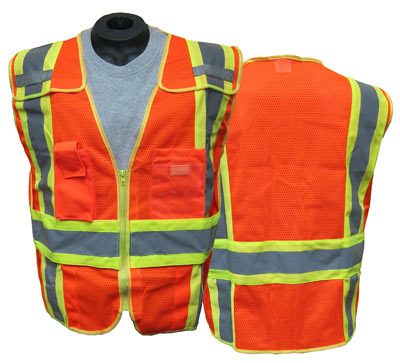 9000b8bd5f5f ANSI Class 2 Public Safety Vest - 5-Point Breakaway Expandable Mesh Safety  Vest with Zipper Closure